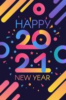Stylish happy new 2021 year template vector