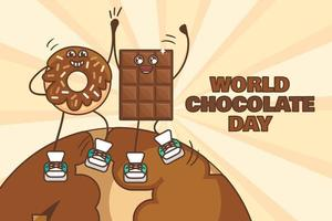 World Chocolate Day Illustration With Dancing Sweet Donut And Chocolate Bar Characters vector