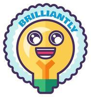Brilliant sticker for homework reward in school vector