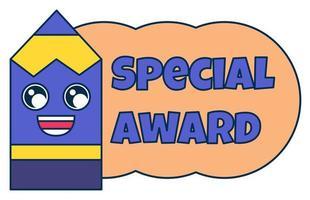 Special award teacher reward sticker, school mark vector