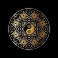 Meditation Template with Yin Yang Sign In Mandala vector