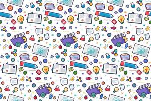 Back to school seamless patter with doodle tools vector