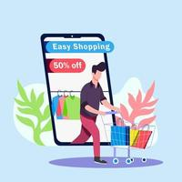 Boy shopping cloths from online illustration concept vector