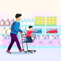 Shopping in supper shop with children illustration concept vector