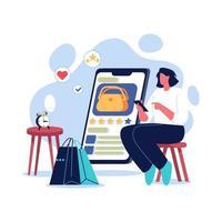 Girl online shopping illustration concept vector