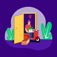 Vegetable delivery door to door illustration concept vector
