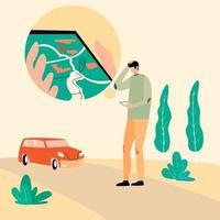 Rental car service vector illustration, Wrong Location tracking