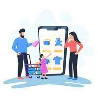 Family shopping online vector illustration concept