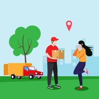 Courier delivery concept Illustration vector