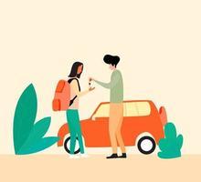Rental car service vector illustration, Rent car for traveling