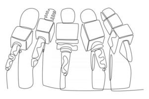 Continuous line of live news broadcast from microphone vector illustration