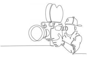 Continuous line male operator camera vector illustration