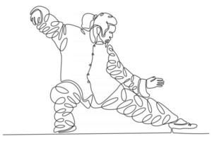 continuous line drawing of ninja doing tai-chi element vector illustration