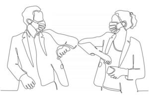 continuous line of people with masks Elbow bumps are a new greeting to avoid the spread of the corona virus. Vector illustration