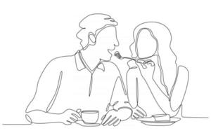 romantic couple continuous lines vector illustration