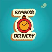 Sticker, label express delivery. Timer and express delivery . Vector illustration