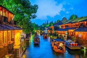 Cityscape of Wuzhen, a historic scenic town in China photo