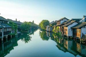 paisaje urbano de wuzhen, una histórica ciudad escénica en china foto