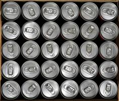Top view, aluminium cans with a drink photo