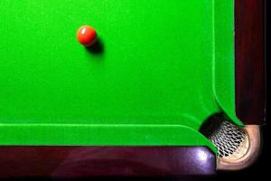 Snooker table top view with snooker balls on green photo
