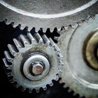 Close up of old machinery gear metal cog wheels photo