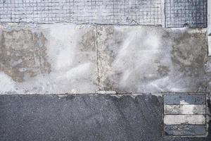 Vista superior del pavimento de hormigón, textura de la superficie del sendero foto