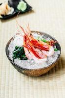 Raw and fresh shrimp or prawn sashimi photo