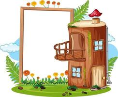 Empty banner with fantasy timber house vector