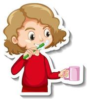 Sticker design with a girl brushing her tooth cartoon character vector