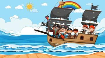 Ocean scene at daytime with Pirate kids on the ship vector