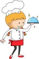 Little chef serving food cartoon character vector