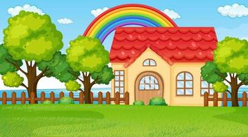 Nature landscape scene with a house and rainbow in the sky vector