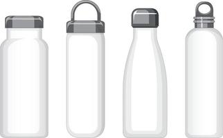 Set of different white metal water bottles isolated vector