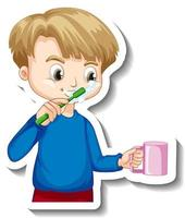Sticker design with a boy brushing his tooth cartoon character vector