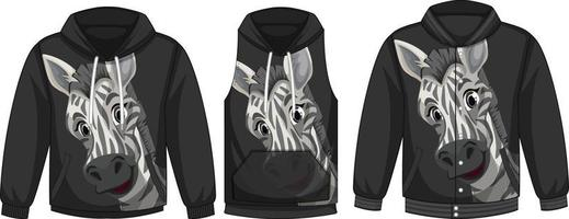 Set of different jackets with zebra template vector
