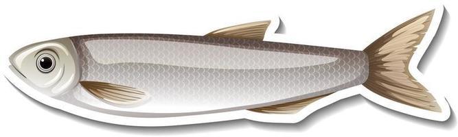 pegatina de dibujos animados de un pez gris vector