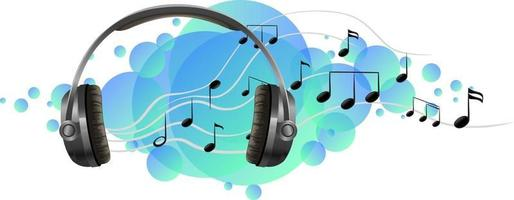 Headphone listening device with music melody on blue splotch vector