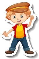 A boy wearing hat cartoon character sticker vector