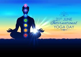 illustration of man doing asana for International Yoga Day on 21st June with Tantra Sapta Chakra meaning seven meditation wheel vector