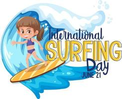 International Surfing Day banner with a girl surfer cartoon character isolated vector
