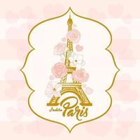 Floral Paris sign with flower bouquet and Eiffel tower landmark vector