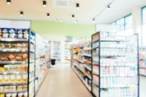 Desenfoque abstracto y tienda de conveniencia y supermercado desenfocado foto