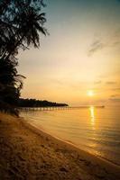 Beautiful paradise island with beach and sea around coconut palm tree photo