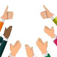 diseño plano aplaudiendo plantilla de banners de aplausos de mano. ilustración vectorial vector
