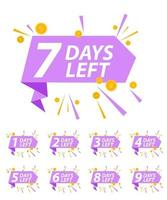 Offer sale business sign with Days left collection set. Vector illustration