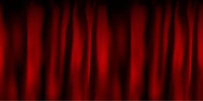 Realistic colorful red velvet curtain folded. Option curtain at home in the cinema. Vector Illustration