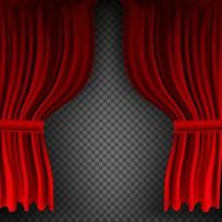 Realistic colorful red velvet curtain folded on a transparent background. Option curtain at home in the cinema. Vector Illustration