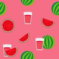 Fresh watermelon juice seamless pattern background vector illustration