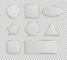 Glass Transparency Frame Collection Set  Vector Illustration