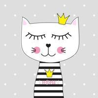 Little Cute Cat Princess Vector Illustration